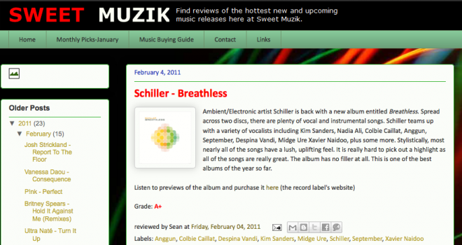 Review of Schiller's Breathless on Sweet Muzik