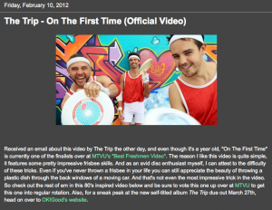 """Music That's Nu2Me Features The Trip's """"On The First Time"""" Video"""