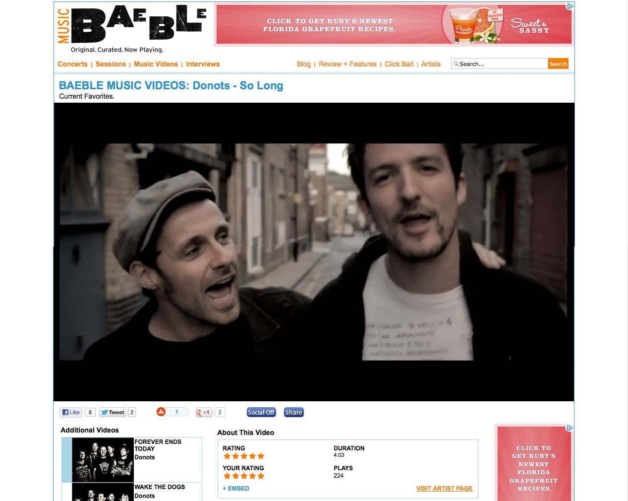 "Baeble Music Features The Donots Video ""So Long"""