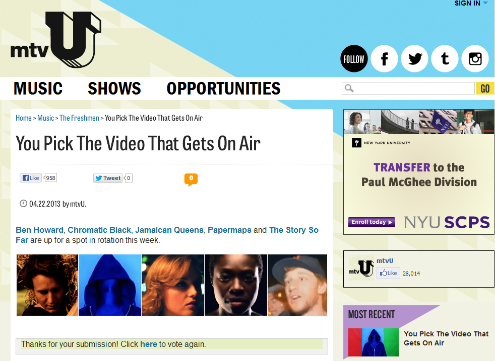 Vote chromatic BLaCK For mtvU's Freshmen Show Contest
