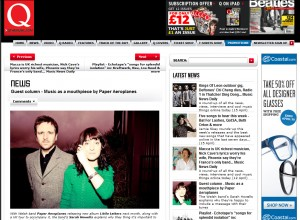 Paper Aeroplanes Do Guest Column For Q Magazine