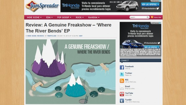 "Jamspreader Reviews A Genuine Freakshow's ""Where The River Bends"" EP"