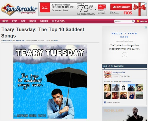Jon Allen JamSpreader Teary Tuesday Playlist Post
