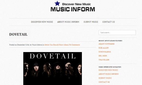Dovetail Featured On Music Inform!