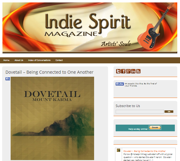 Dovetail Interviewed By Indie Spirit Magazine