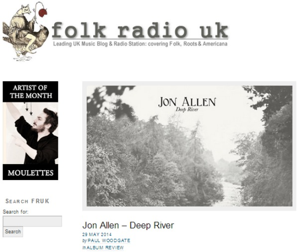 Jon Allen Deep River Review Folk Radio UK