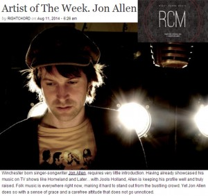 Jon Allen Featured as Right Chord Music's 'Artist of the Week'