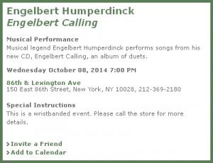 Meet Engelbert Humperdinck At Barnes & Noble NYC October 8th, 2014