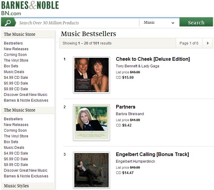 'Engelbert Calling' Barnes & Noble #3 Music Bestsellers