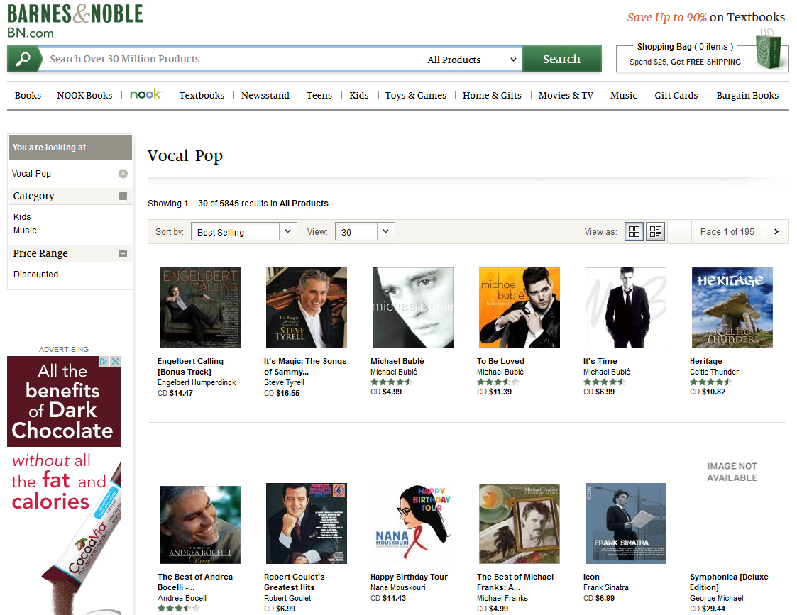 EH Barnes And Noble Number One Vocal Pop