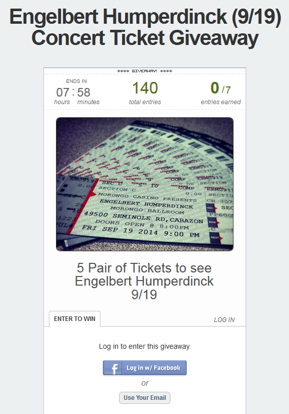 Engelbert Humperdinck Ticket Giveaway