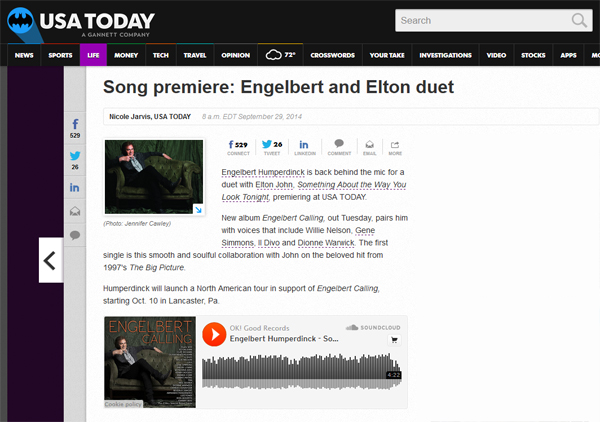 Engelbert Humperdinck Song Featured On USAToday.com