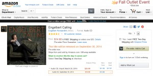 Engelbert Calling CD Available For Pre-Order On Amazon.com