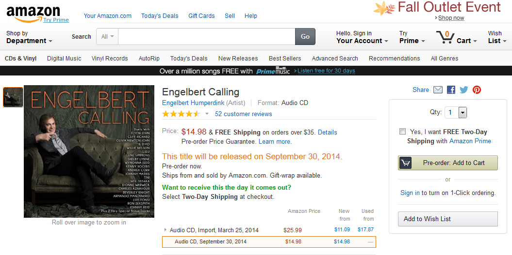 Engelbert Calling Amazon Preorder Screenshot