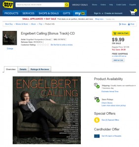 Engelbert Calling Deluxe Double CD Now On Sale For $9.99 At Best Buy