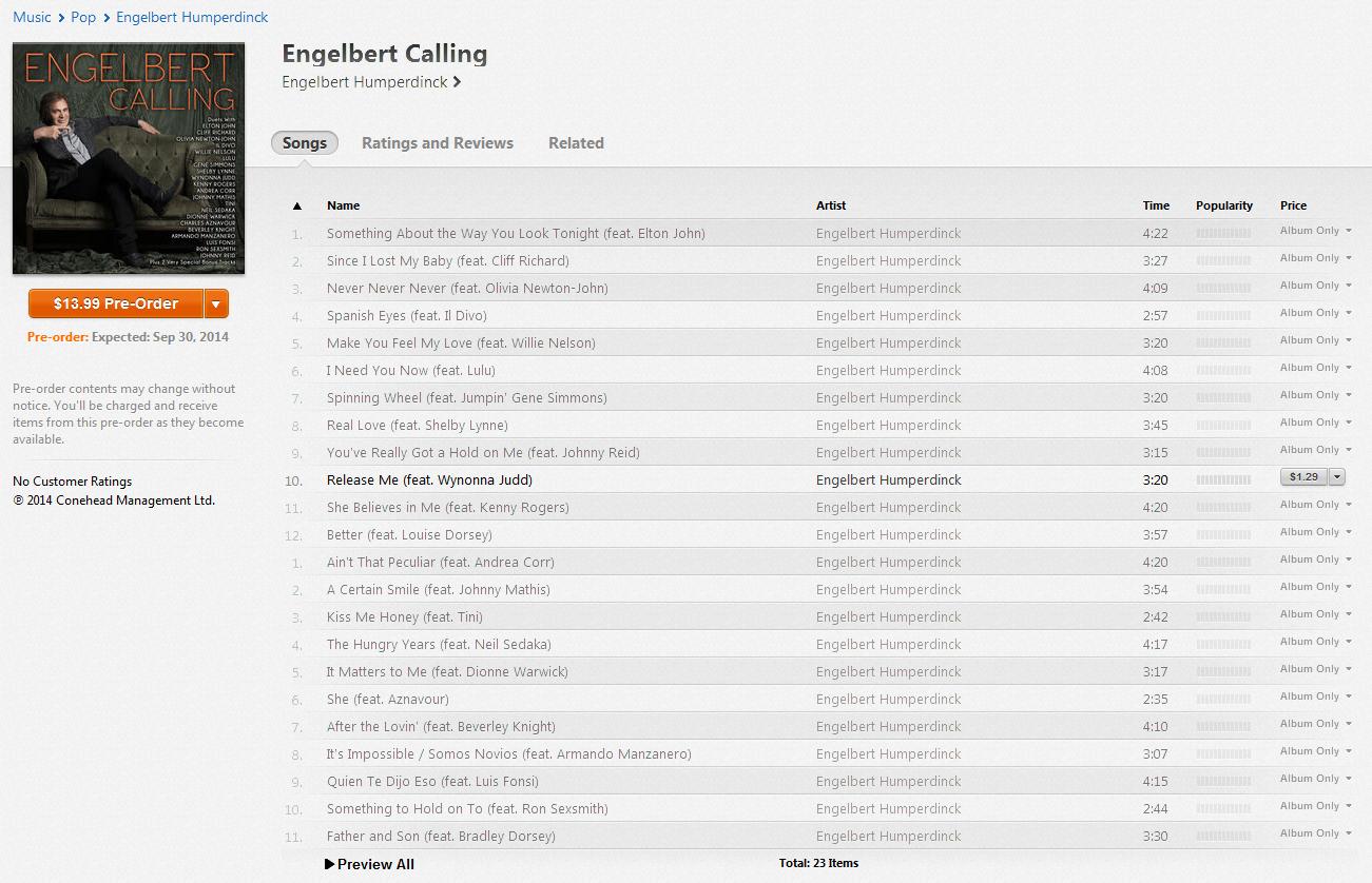 Engelbert Calling iTunes Pre-Order