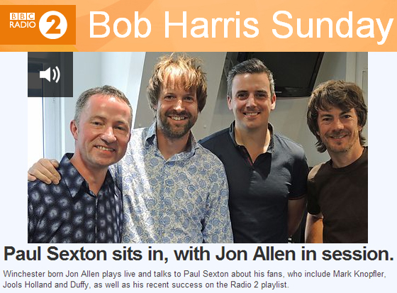 Jon Allen on Bob Harris Sunday (BBC Radio 2)