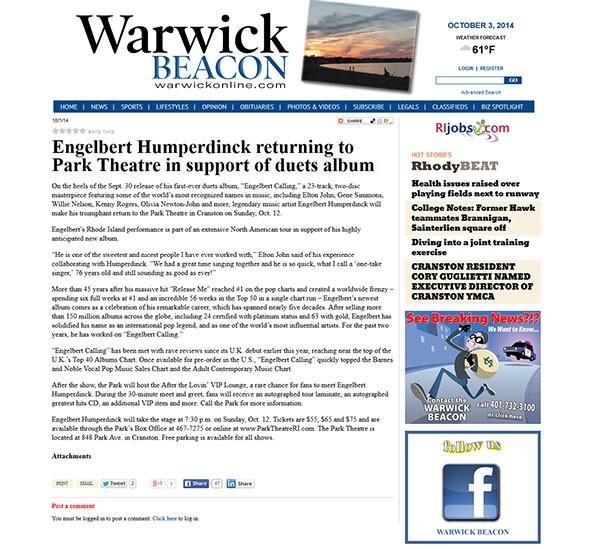 Engelbert Humperdinck Featured on Warwick Beacon