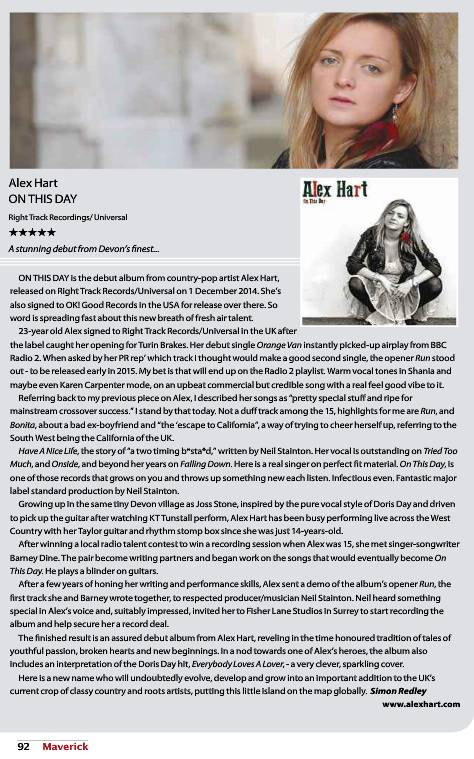 Alex Hart - Maverick Magazine Review