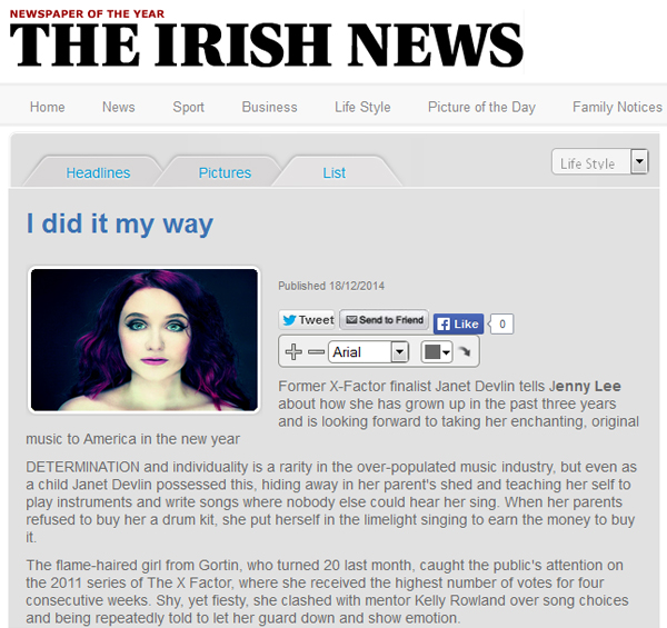 The Irish News Interviews Janet Devlin