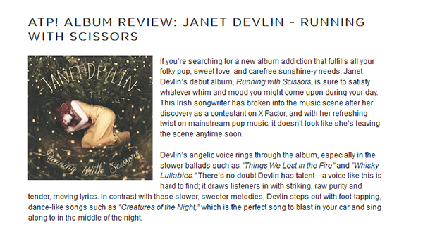 Janet Devlin's Debut Album 'Running With Scissors' Reviewed by Alter The Press!