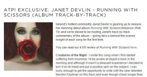 Alter The Press! Track-by-Track Commentary on Janet Devlin's Running With Scissors