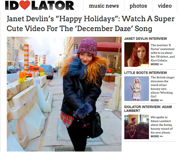 "Idolator Premieres Janet Devlin's ""Happy Holidays"" Music Video"