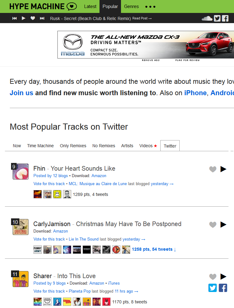 "Carly Jamison's ""Christmas May Have To Be Postponed"" #10 on Hypem Twitter Music Chart"
