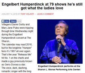 Villages-News Reviews Engelbert Humperdinck's Performance at The Sharon