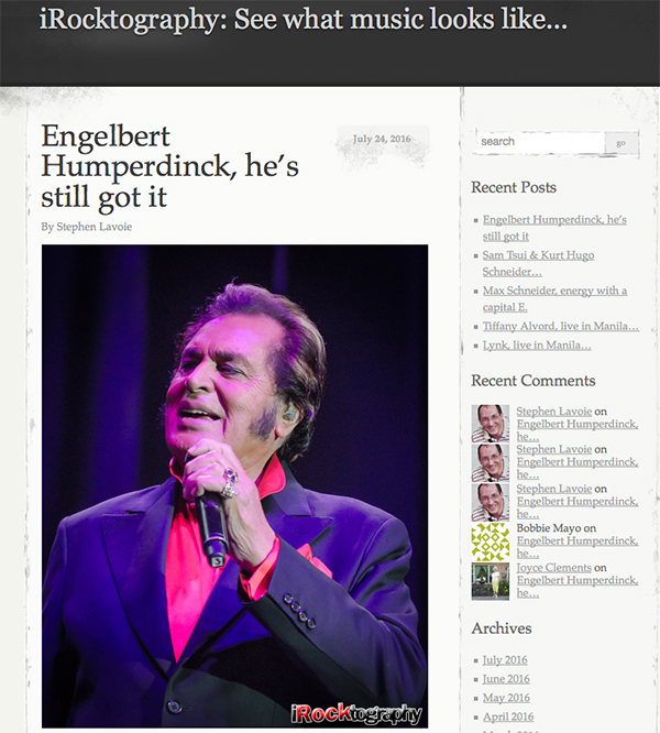 iRocktography Captures Engelbert Humperdinck's Performance in the Philippines