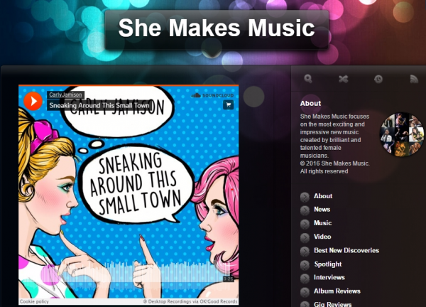 "Carly Jamison's ""Sneaking Around This Small Town"" Featured on She Makes Music"