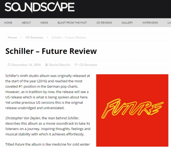 Soundscape Magazine Reviews Schiller's 'Future'