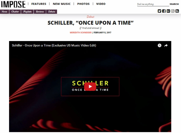 """Premiere: Schiller's """"Once Upon A Time"""" Music Video Premiered on Impose Magazine"""