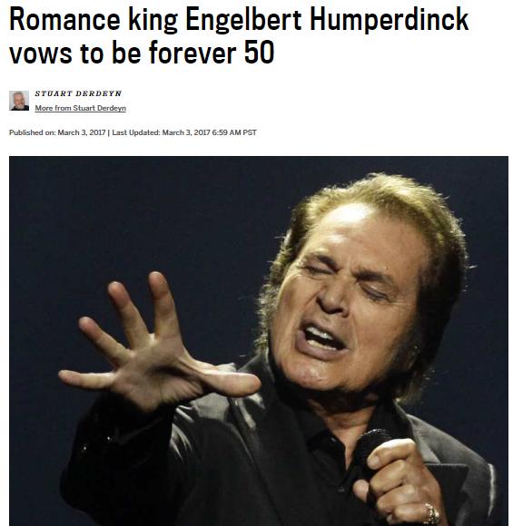 engelbert humperdinck vancouver sun 50th anniversary tour release me