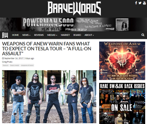 BraveWords Interviews Weapons of Anew