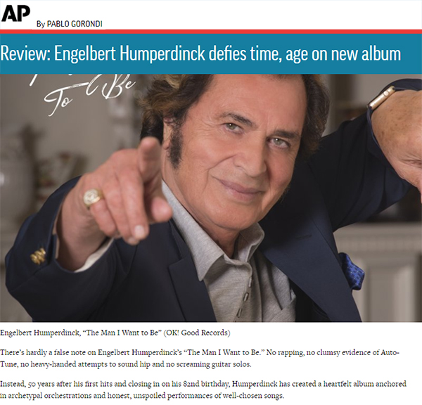 "The Associated Press Review: ""Engelbert Humperdinck defies time, age on new album"""