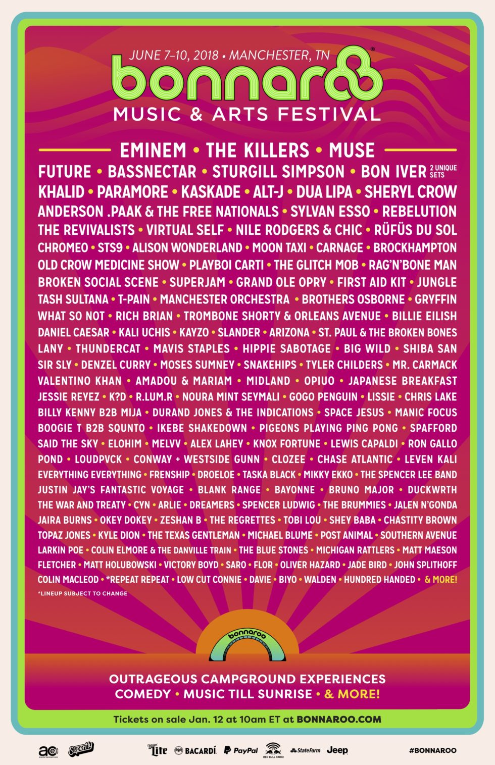 bonnaroo 2017 lineup ok good records music and arts festival
