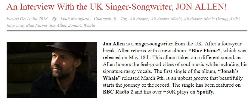 Check Out All Access Music's Latest Interview With Jon Allen
