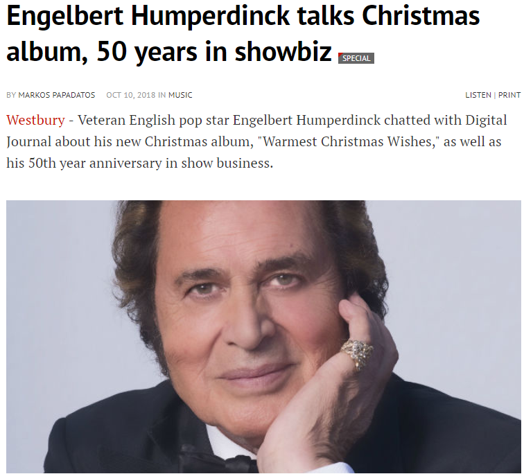 engelbert humperdinck digital journal interview warmest christmas wishes the man i want to be