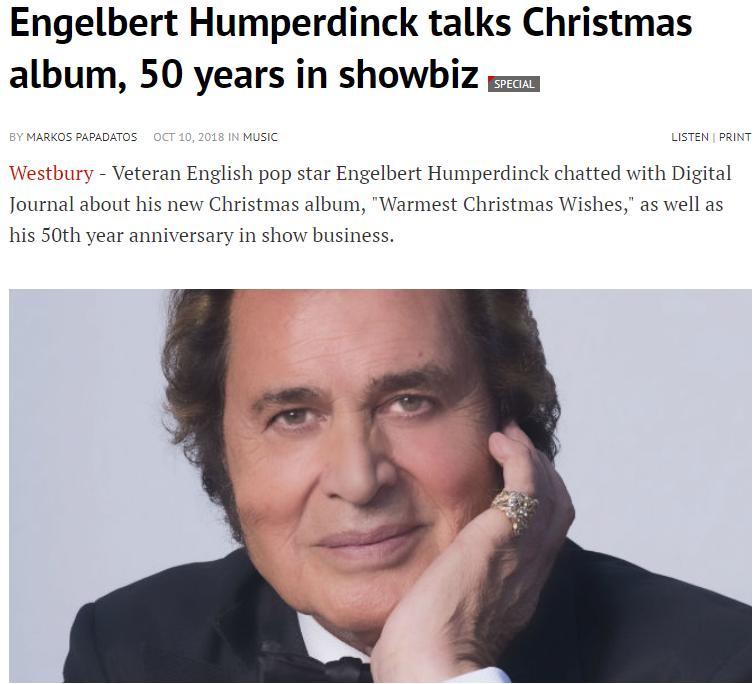 engelbert humperdinck digital journal interview warmest christmas wishes the man i want to be